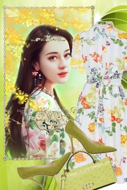 Kjole med blomster 8- Fashion set