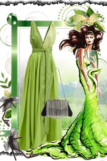 Grønn kjole med sort tilbehør