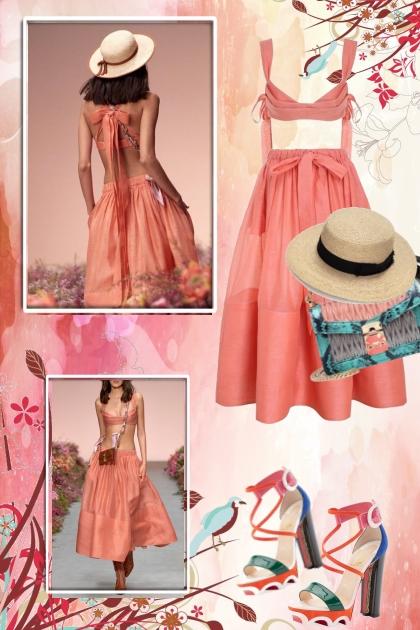Aprikosfarget kjole 15