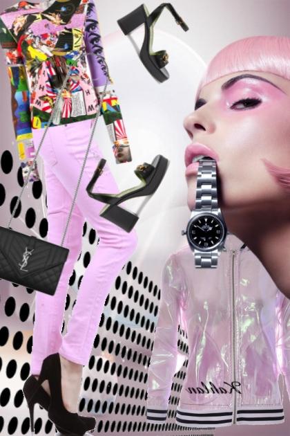 Rosa bukse og mønstrete topp