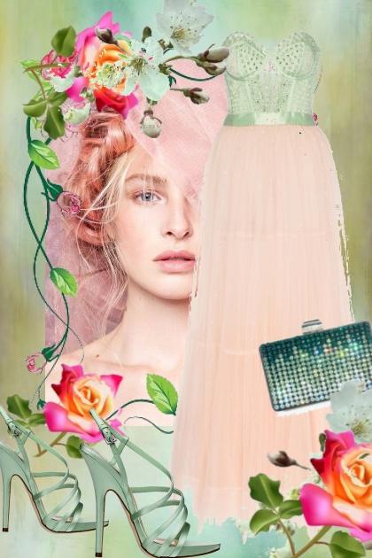 Rosa/grønn sid kjole