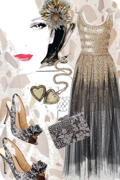 Glitrende sid kjole- Fashion set