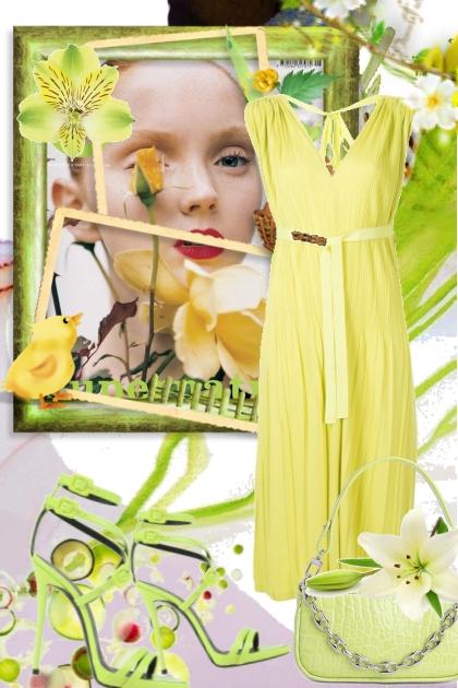 Gul kjole 3- Fashion set