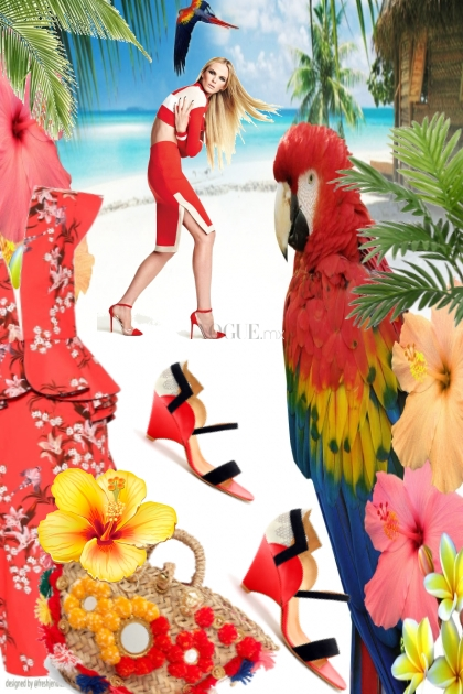 Kjole med blomster og sandaler