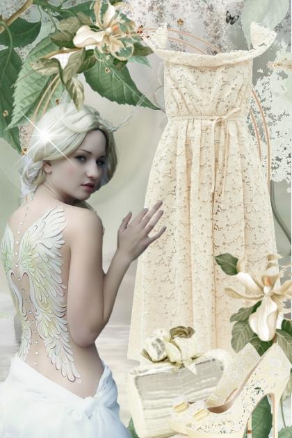 Kremfarget blondekjole