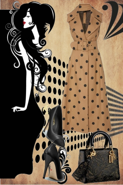 Kjole med prikker og sort tilbehør
