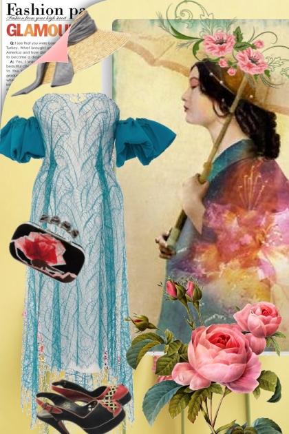 Blåturkis kjole