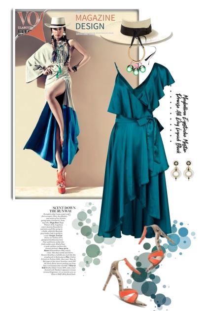 Blåturkis kjole 23