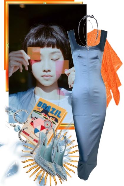 Blå silkekjole og oransje