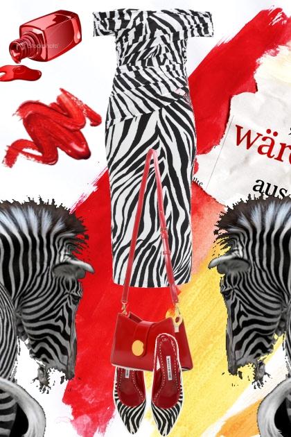 Zebra-mønstret kjole