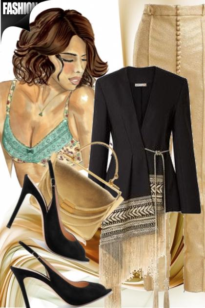 Gullfarget bukse og sort jakke