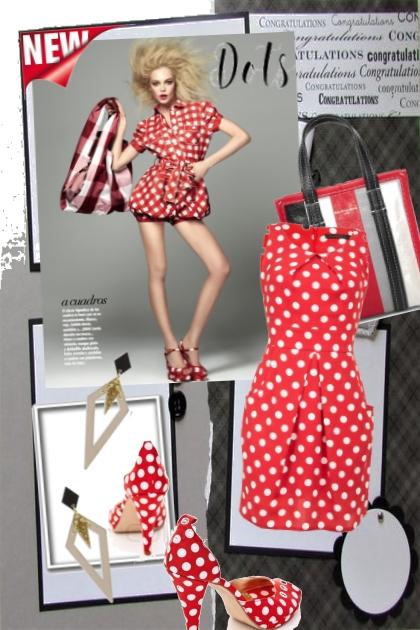 Rød kjole med hvite prikker- Fashion set