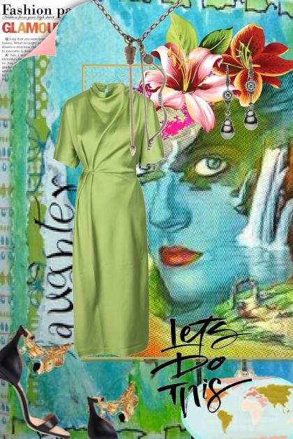 Grønn silkekjole