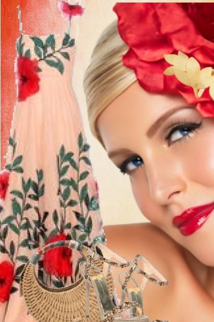 Blekrosa kjole med røde blomster