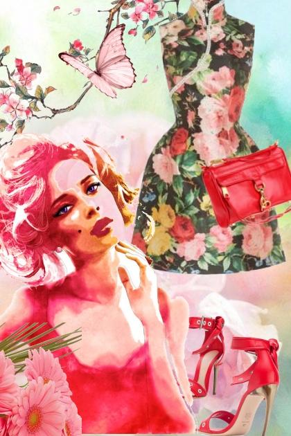 Kjole med rosemotiv