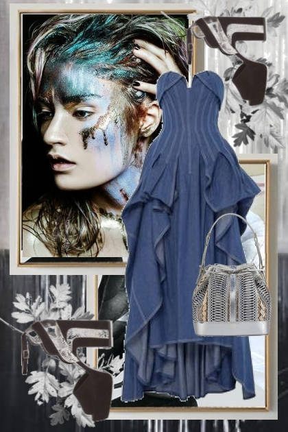Denim dress and silver 2