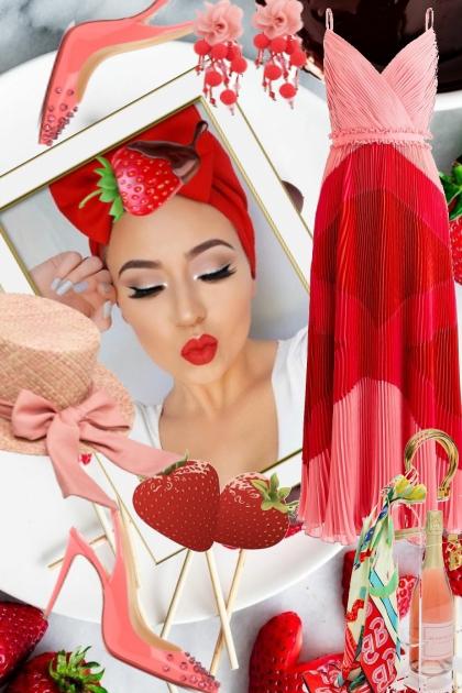 Rød-rosa kjole med hatt