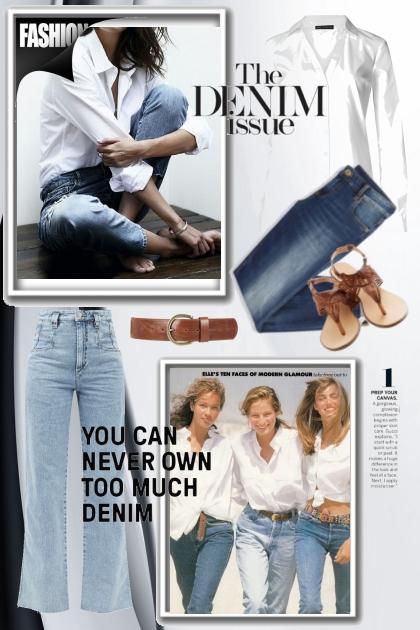 Jeans og hvit skjorte
