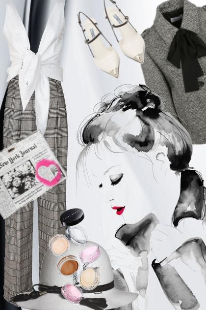 Rutet grå bukse med hvitt og grått tilbehør