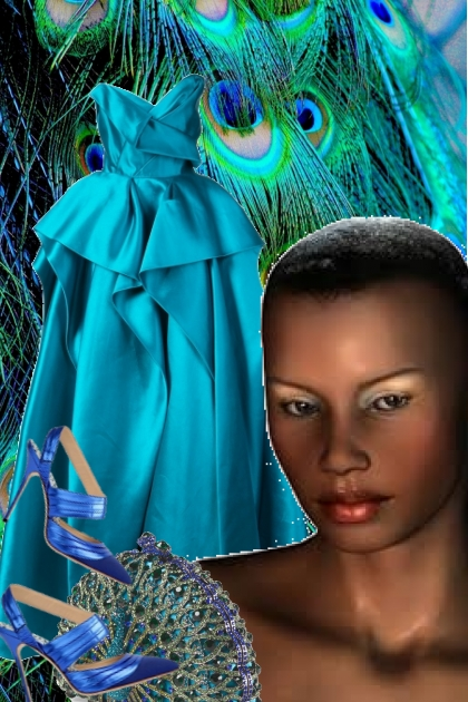 Påfugl-farget kjole