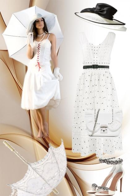 Hvit kjole med hatt