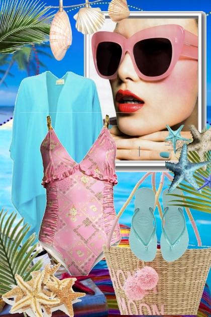 Rosa og blått på stranda