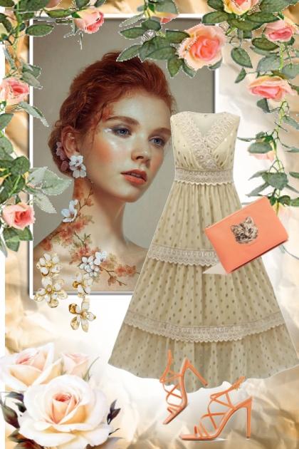 Lys blondekjole og aprikosfarget tilbehør