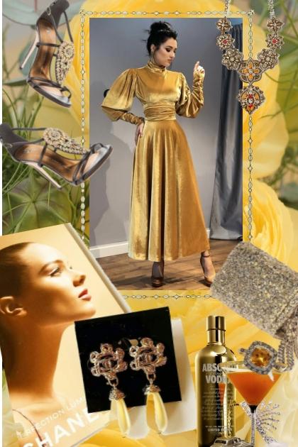Gylden fløyelskjole