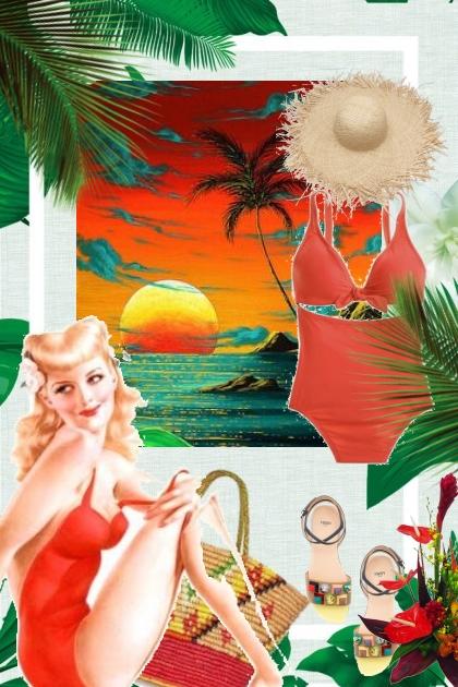 Badedrakt og solhatt