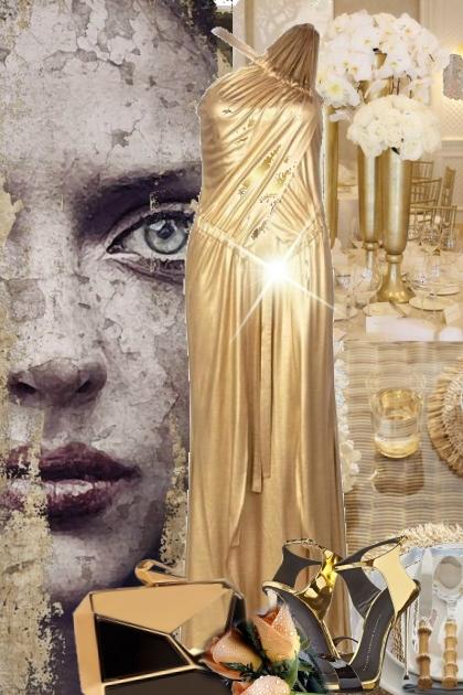 Gull sid kjole