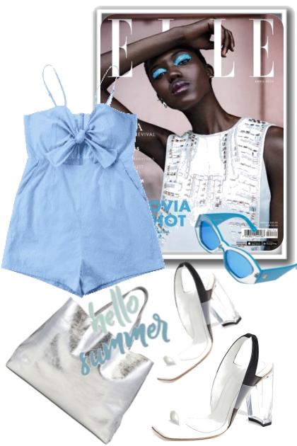 Blå romper med hvitt tilbehør- Fashion set