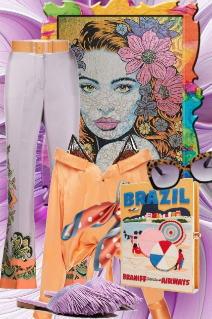 Lys lilla og aprikos-farget antrekk- Fashion set