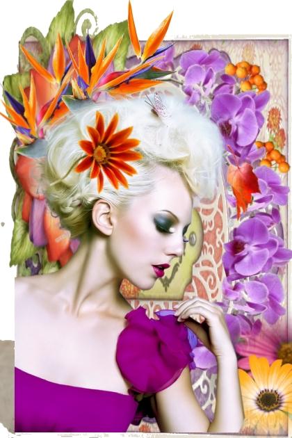 Jente med oransje og lilla blomster