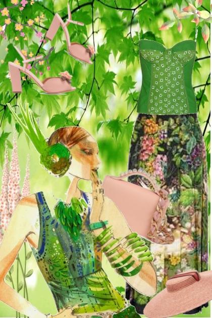 Grønt antrekk med rosa tilbehør