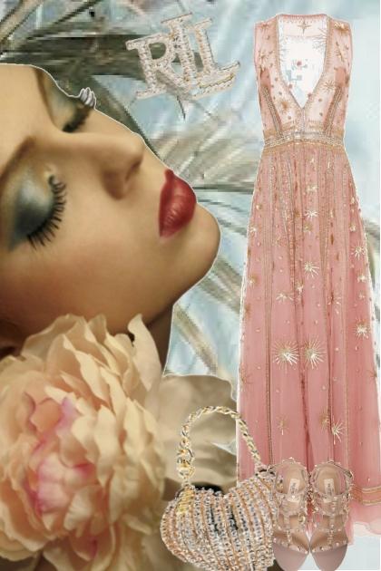 Sid rosa kjole med gull