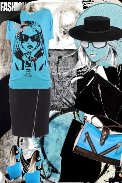 T-skjorte med trykk og sort skjørt