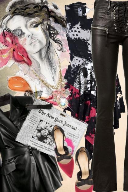 Sort skinnbukse og jakke med mønstret topp