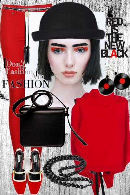 Rødt og sort antrekk