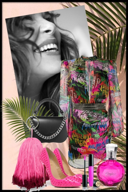 Mønstret kjole med rosa tilbehør