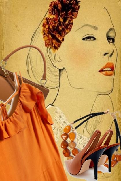 Oransje kjole med brunt tilbehør