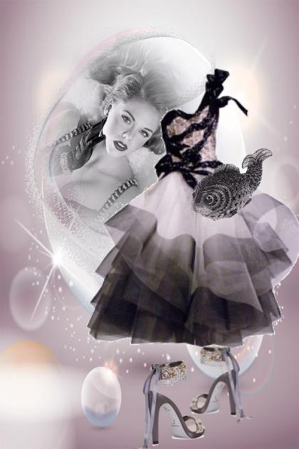 Lilla/sort kjole