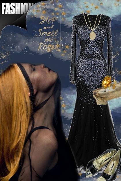 Sort glitrende kjole