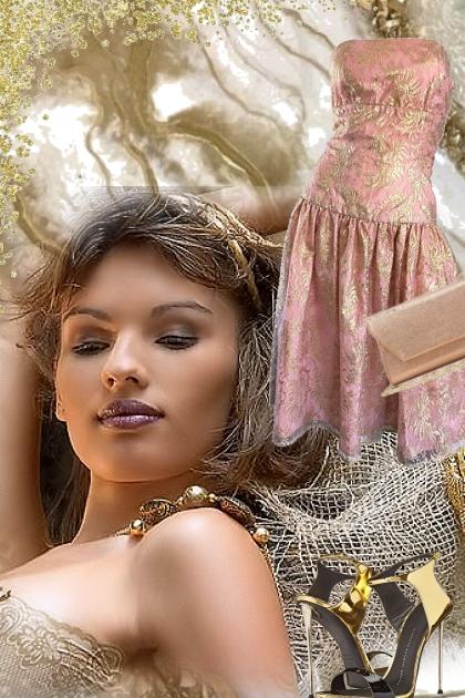 Rosa kjole med gull 16