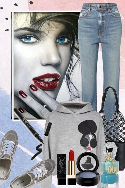 Jeans og grå genser