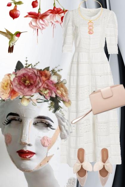 Romantisk hvit kjole med rosa tilbehør