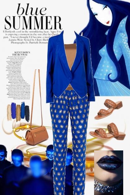 Blå bukse med jakke og topp