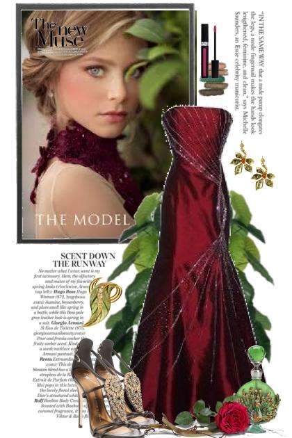 Dyp burgunder festkjole
