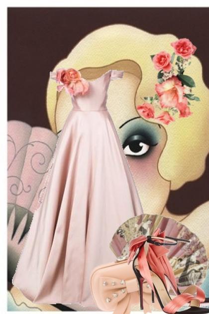 Lys lilla kjole med aprikos tilbehør