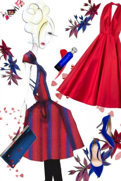 Rød silkekjole og blått tilbehør