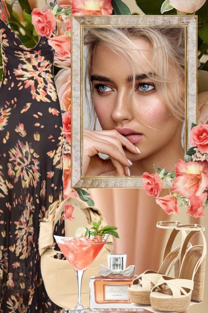 Sort sid kjole med aprikosfargede blomster